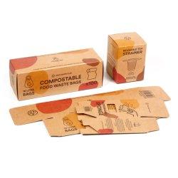 FSC Custom Logo gerecycled bruin Kraft papier Afvalzak thee Koffie Cosmetische zeep Bamboo Cooking utensil Sponge kleding Product Gift Verpakking verpakking doos