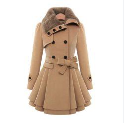 冬の女性は暖める厚いオーバーコートの女性折りえりの毛織のトレンチコート(50018)を