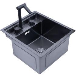 Masqué noir évier de cuisine bol Sizesink unique bar petit évier en acier inoxydable balcon caché