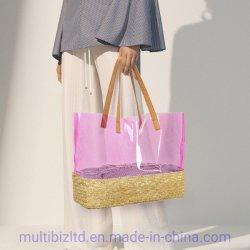 Paglia di corsa della borsa della borsa della spiaggia di estate del Hobo della spalla di colore della caramella del Tote tessuta modo superiore