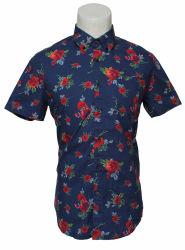 Van de Katoenen van de Flora van de manier Overhemd het Toevallige Korte Mensen van de Koker