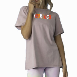 Ecrã personalizado imprimindo Plain superdimensionada meninas T Shirt Streetwear Moda Hip Hop Tshirt mulheres com o seu logotipo