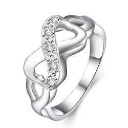 Silver Jewellery Bowknot Micro Pave Zircon Fashion Ring