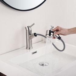 Lavabo robinet mélangeur en acier inoxydable 304 à levier unique de l'eau chaude et froide evacuation laver le visage du robinet du bassin par la couleur noire