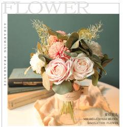 Fleurs artificielles Bouquet Rose Pompom maman Wedding Accueil Décoration Yc1001