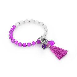2018 violet tendance verre blanc Crystal Bead Bracelet avec Tassel