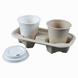 La vaisselle biodégradable vaisselle jetable la canne à sucre 2 porte-gobelet