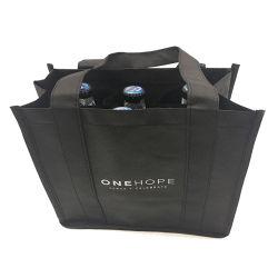 Schwarze Portable-nicht gesponnene Wein-verpackenbeutel-Luxuxmanufaktur, kundenspezifischer Druck-Wein-Speicher-Beutel-Weihnachtsgeschenk-Wein-Beutel