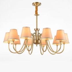 Retro europeo cobre decorativa lámpara de araña con tela sombra