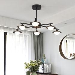 Ferro saldato che vernicia l'indicatore luminoso moderno semplice di lusso nero di ingegneria del lampadario a bracci