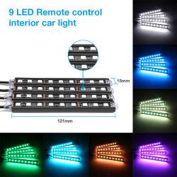 des Auto 4PCS RGB-LED Streifen-Atmosphären-Lampen-Installationssatz-Nebel-Selbstlampe Streifen-Licht-Auto-dekorative flexible farbige LED mit entfernter Station