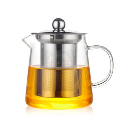 Venda por grosso de vidro borossilicato chaleira para chá Infuser chaleira Copo de vidro para chá