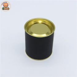 Embalagem de chá com ouro rolha de ferro e o preto ao redor do tubo de papel