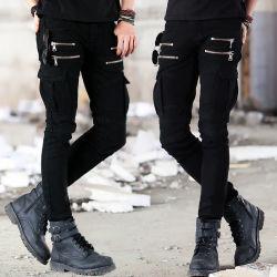 Jeans degli uomini americani di stile di esplosione della chiusura lampo del popolare di stirata e dell'europeo