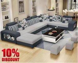 Tissu moderne salle de séjour coin de meubles de bureau à domicile forme en U canapé de loisirs