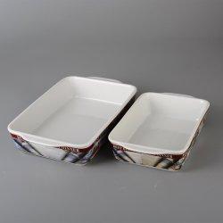 Square adhesivo alta temperatura cerámica plato de fruta