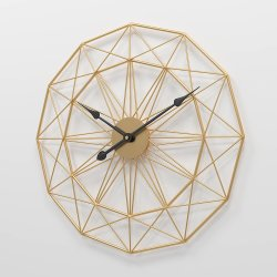 Negro/Dorado Decoración Reloj de pared para Salón
