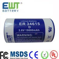 WatermeterのためのEr34615李Socl2のリチウムThionyl塩化物電池3.6V 19ah