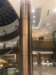 Espejo personalizado columna revestida de acero inoxidable el vestíbulo del hotel columnas