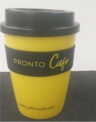 12oz xícara de café de plástico reutilizável caneca com alça de Silicone
