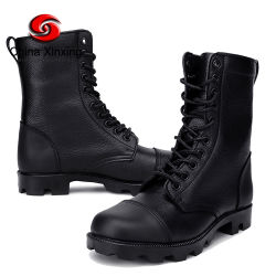 Black Police Combat Shoes Split gegoten leer Rubber Sole Army Tactical Military men's Safety Boots for Soldier