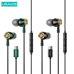 Usams High Quality Sport Stereo Metal Bass Kopfhörer Günstige Art C Ep43 kabelgebundene Kopfhörer mit Mikrofon
