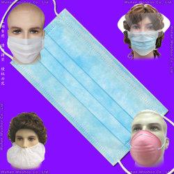 Maschera facciale monouso in PP non tessuto a 3 veli protettiva per orecchini/carta/laboratorio/sicurezza con Auricolari elastici/con aggancio
