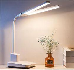 LED 데스크 램프 더블 헤드 52cm USB 충전 불운한 조광 아이 보호 독서용 독서등 3색 스위치 테이블 조명