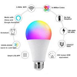 Traploze dimbare LED-lamp met kleurverandering, Smart WiFi RGB 10W SMD LED-lamp A60