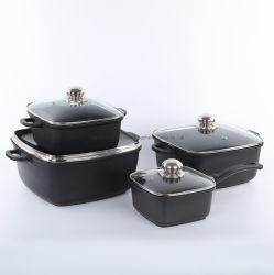 Литой алюминиевый корпус 4-PCS посуда, квадратные суп в горшочках /соус Pot, Non-Stick посуда