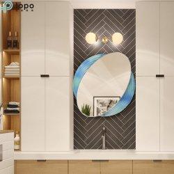Trucco decorativo della decorazione della parete della stanza da bagno di ellisse di arte ovale di H640mm*600mm che veste specchio a Guangzhou (MR-YB4-DJ005)