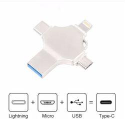 2019 Hot-Sale multifunción 4 en 1 unidad Flash USB OTG de tipo C /Rayo// Equipo Micro USB con logo personalizado