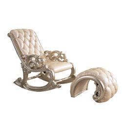 Cadeira de balanço real com couro Ottoman para Mobiliário doméstico