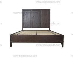 Venda a quente clássico chinês mobiliário estilo Castanho Parafinado Oak Antique cor bronze Canto Metal Cama Queen Size Frame