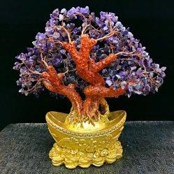 E-Co amable resina Cuarzo Rosa Gema Amatista Bonsai Tree para mejoramiento espiritual
