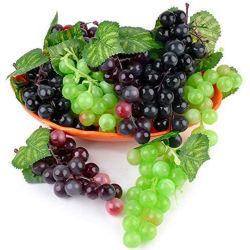 As uvas artificial Faux Frutas, falso uvas realista decoração Clusters de uvas de plástico e videiras, Borracha decorativas de cachos de uvas em Preto Roxo Vermelho Verde Photogra