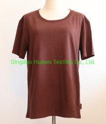 Le donne organiche dei vestiti del cotone della canapa mettono la maglietta in cortocircuito rotonda del collo del manicotto