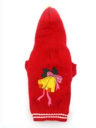 Red Hot Dog Blusa com capuz de Natal Camisolas Bells Holiday Roupas Pet