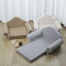 Luxuxleinenhaustier-Sofa-faltbarer Haustier-Bett-Speicher-Schaumgummi-orthopädische Bett-Form L