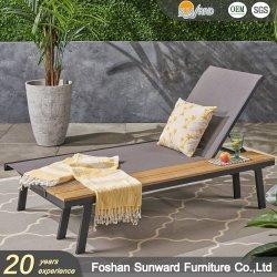 Kundenspezifischer heißes Verkaufs-im Freien Freizeit-Großverkauf-Patio-Strand-Seiten-Garten-Verkaufs-Rücksortierung-Hotel-Swimmingpool AluminiumPolywood Teakholzhölzerner Sun-Aufenthaltsraum
