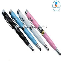 6 en 1 multifonction USB Pen Pen vérifier l'écran tactile de l'argent de l'éclairage laser Stylo à bille