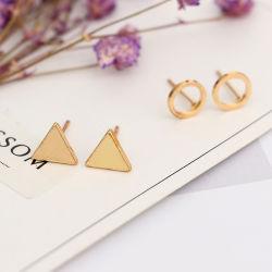Simple fille coréenne Cute Earrings circulaire de la géométrie du triangle Long asymétrique Tassel Drop Earrings Femmes Accessoires de mode