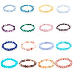 La pietra preziosa elastica preziosa e semi preziosa all'ingrosso borda i braccialetti (6-10mm)
