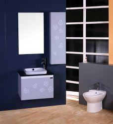 Barato moderno superior em vidro Bacia Cerâmica armário de casa de banho de madeira sólida