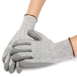 PU-überzogene Handschuh PU-PU-überzogene Stufe 5 Anticut Sicherheits-nahtlose gestrickte Funktion
