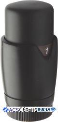 Testa della valvola del radiatore termostatico verniciato a polvere nera TRV