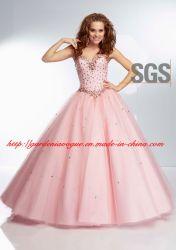 Amada Rosa bebé vestido de bola de rebordeado de lujo SGS de niñas vestido de quinceañera (GDNY115)