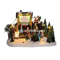 Blanca cálida decoración personalizada Polyresin pequeños LED Navidad casa iluminada con caracteres