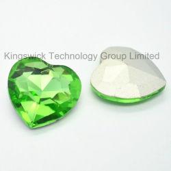 Coração de alta qualidade pedras de cristal de vidro para joalharia