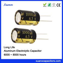 Алюминиевые электролитические конденсаторы 1000ОФ 6.3V долгий срок службы конденсатора